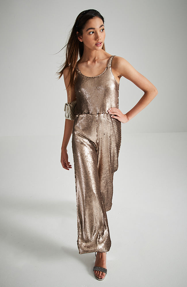 miranda bronze sequins party jumpsuit