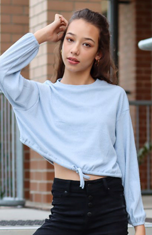 rosa ribbed relaxed crop top
