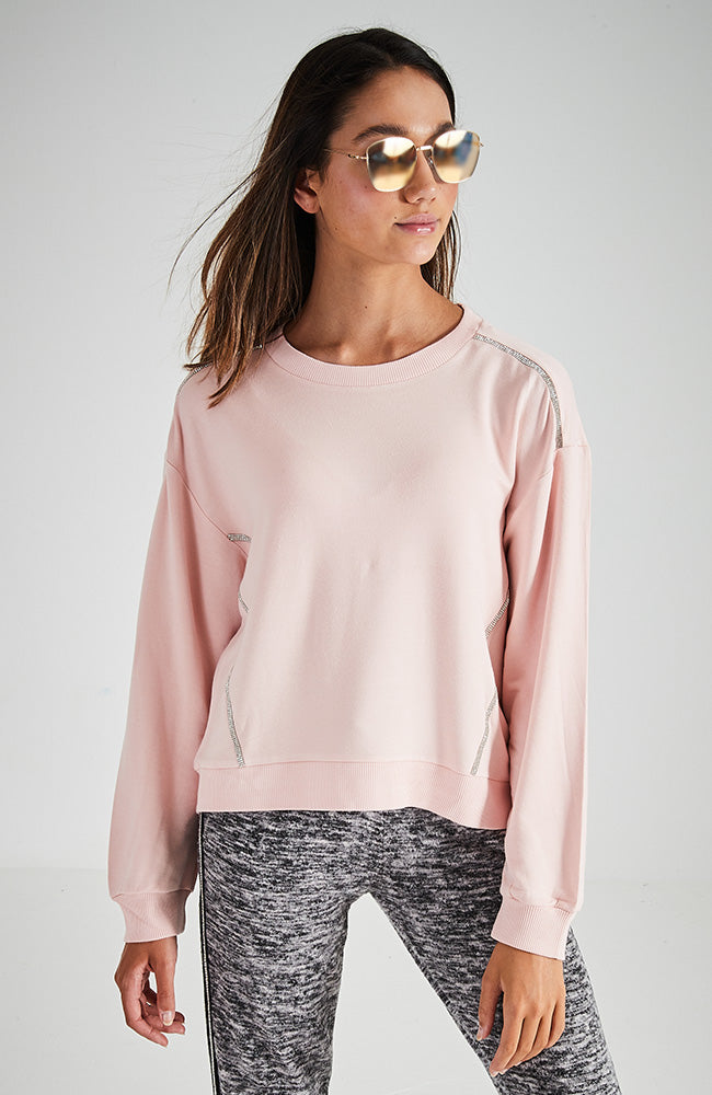 riri pink diamante active sweat top