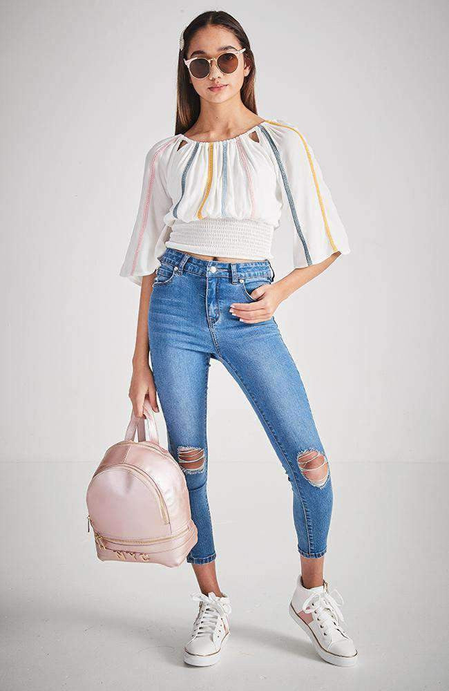 soho pastel stripe wide sleeve top