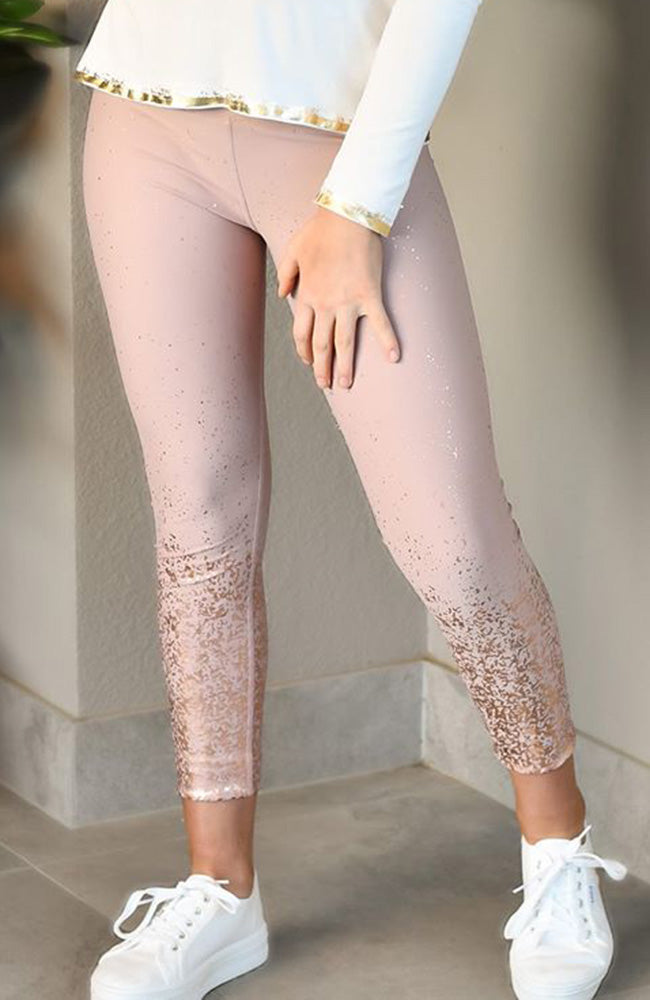 leah pink rose gold foil print active legging