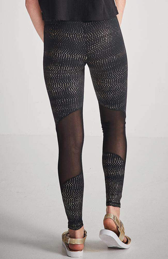 ruby rose gold foil polka dot print mesh pannel active legging