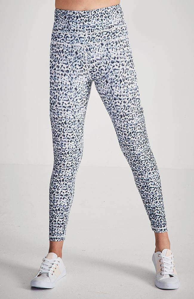 savannah blue and white leopard active legging