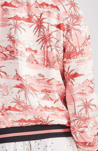 nadine coral tropical palm print bomber jacket
