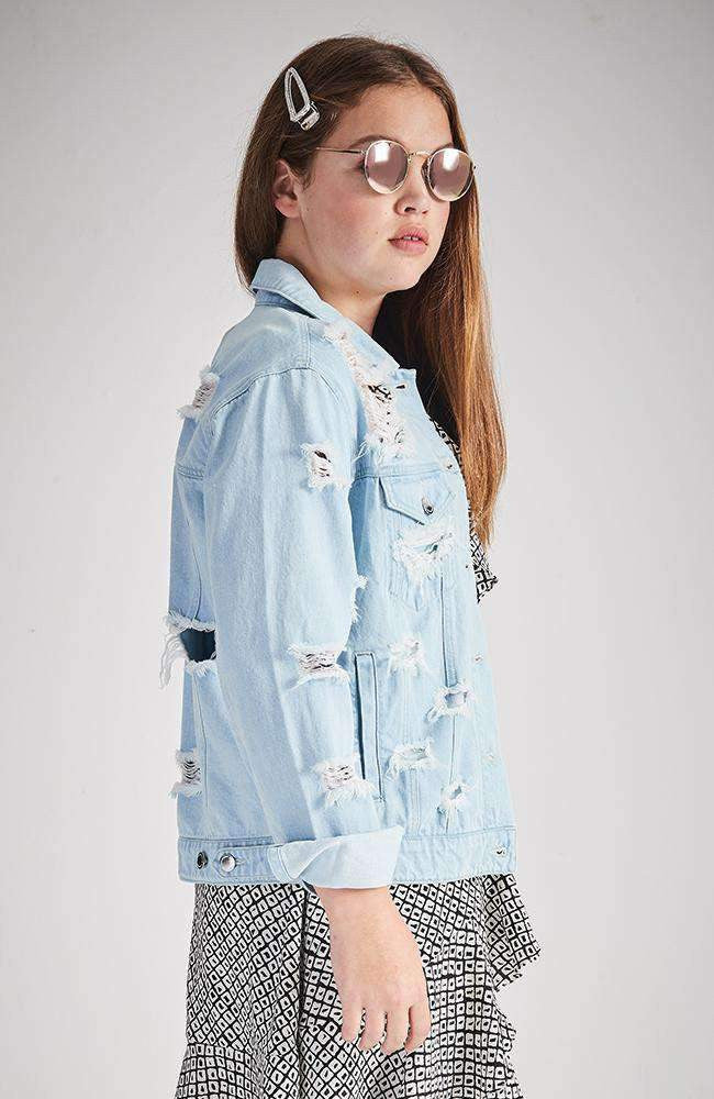 skye distressed ripped denim jacket