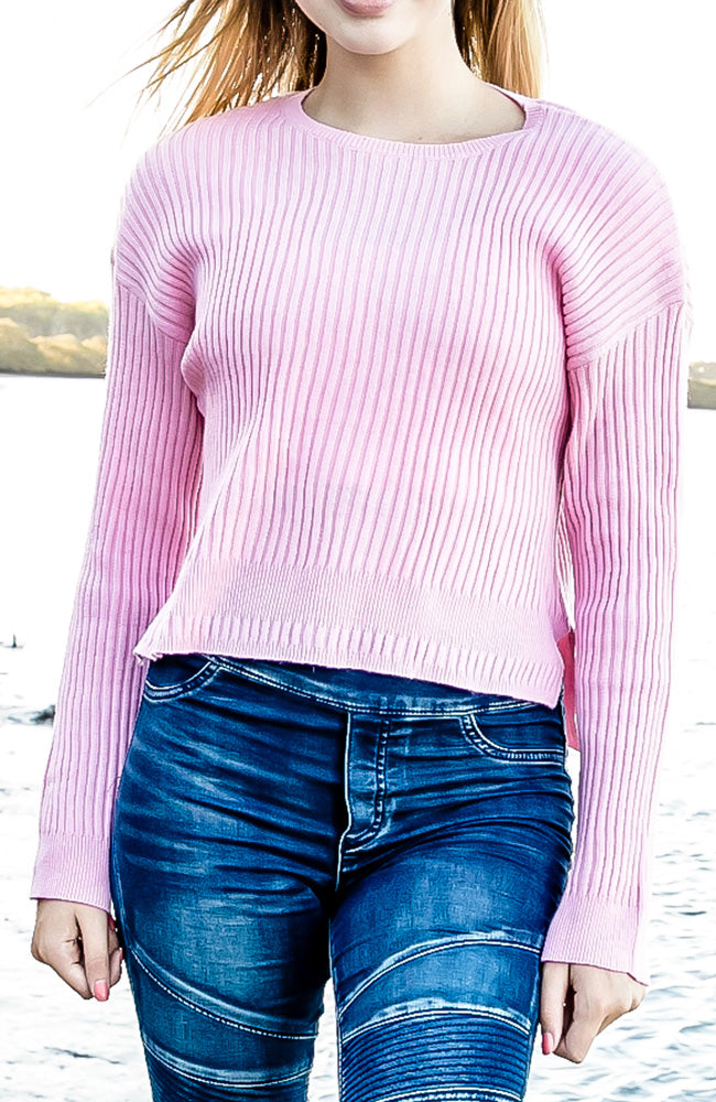 philippa pink ribbed knit