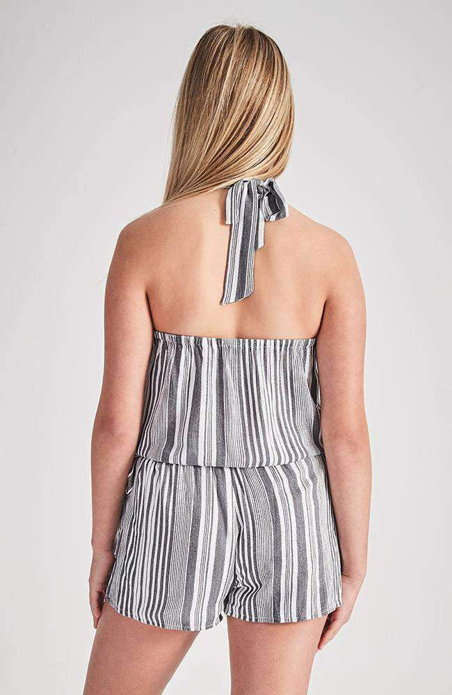maude black and white stripe halter neck playsuit