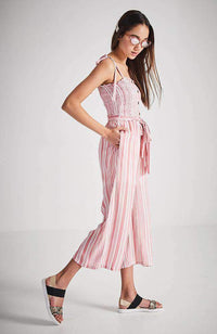 astrid red and white stripe wide leg jumpsuit