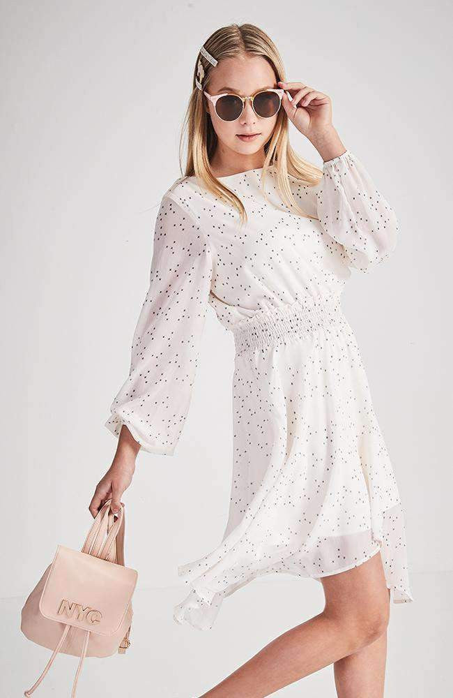 katerina white star detail dress