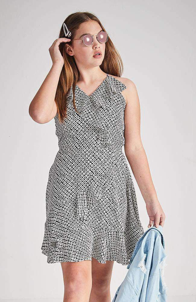 lora black and white geometric summer dress