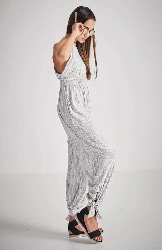 blanca grey halter neck racer back jumpsuit