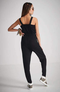 kelli black stretchy drawstring jumpsuit
