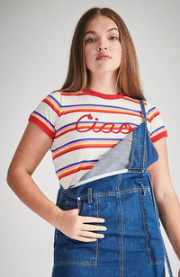 ciao rainbow stripe applique tee