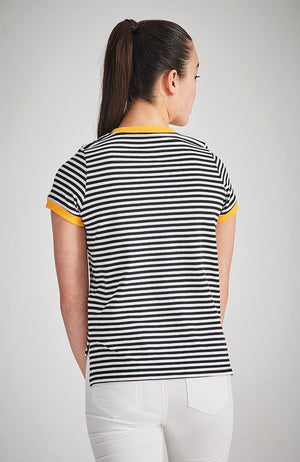 bella black and white stripe tee