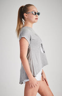 yoga grey metallic silver sequin active tee
