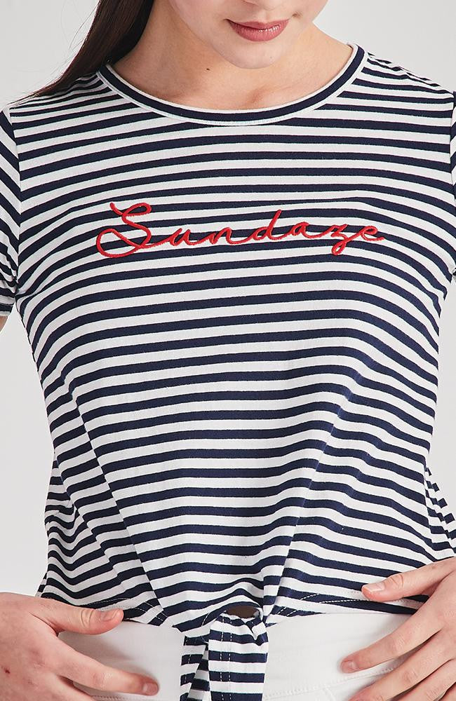 sundaze navy and white stripe front tie tee