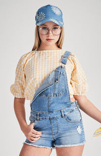 sadie gingham puffed sleeve cropped blouse top