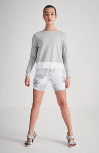 gaia grey white silver applique drawstring active sweat top