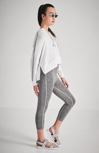 layla white silver glitter foil active sweat top