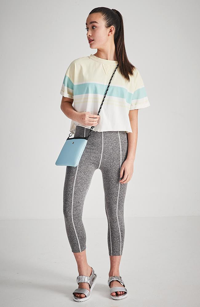 felice pastel stripe crop active sweat top