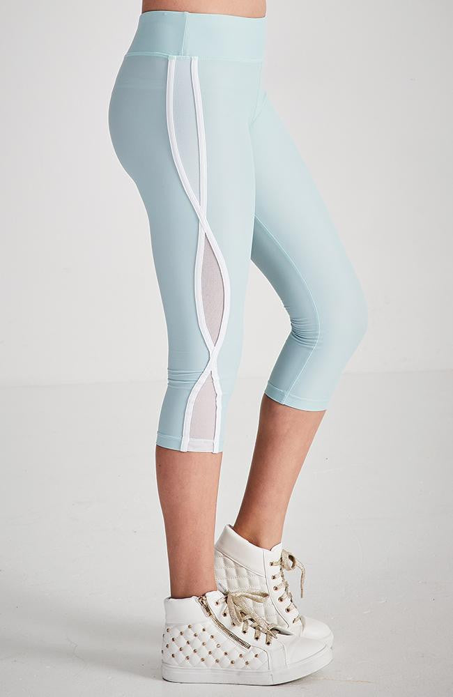 penelope soft aqua white mesh active 3/4 legging