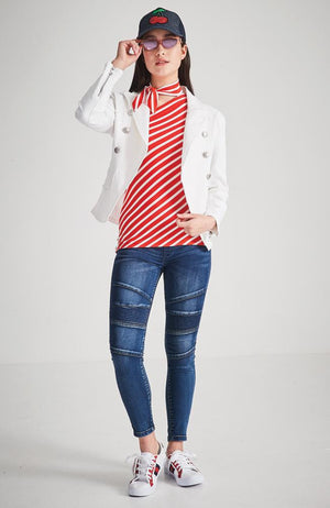 lola white sailor blazer jacket