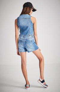 billie v-neck denim playsuit