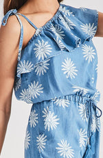genie chambray denim floral playsuit