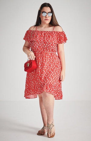 frankie red floral ruffle dress