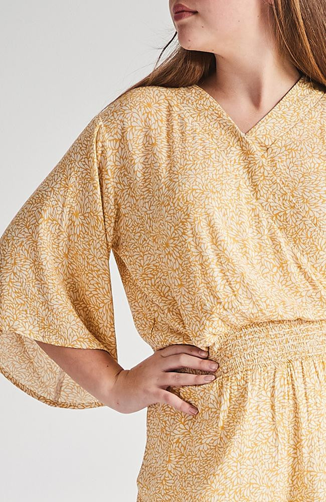 amalia yellow floral faux wrap wide sleeve playsuit