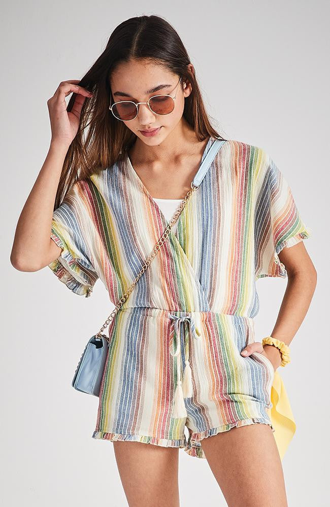 kathy rainbow stripe faux wrap tassel playsuit