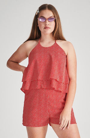 reina red love heart print ruffled playsuit
