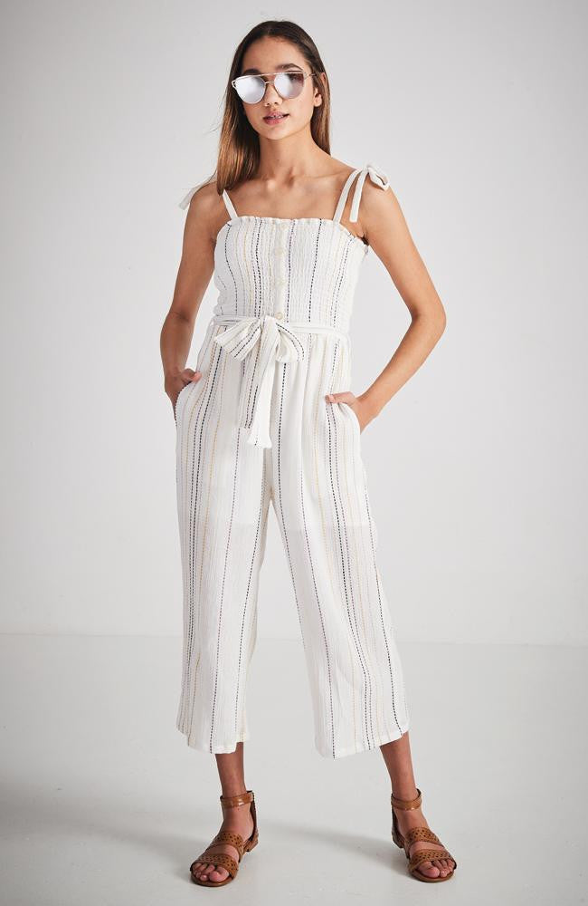 astrid white stripe wide leg jumpsuit