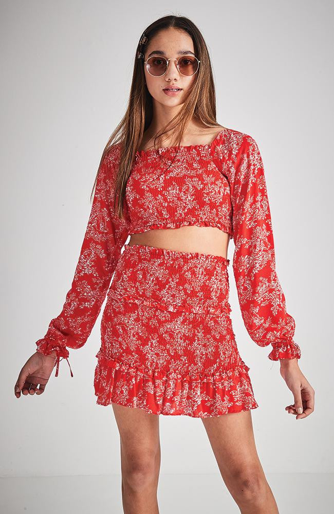 kaia red floral smocked ruffled skirt