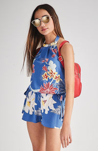 maude blue floral print halter neck playsuit