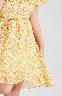 frankie yellow floral ruffle dress