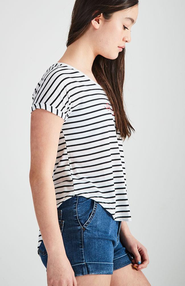 oh cherie black and white stripped tee