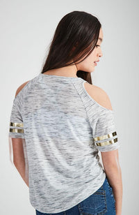 good day grey marle and gold foil tee
