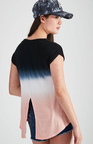 dip dye pink and black ombre tee