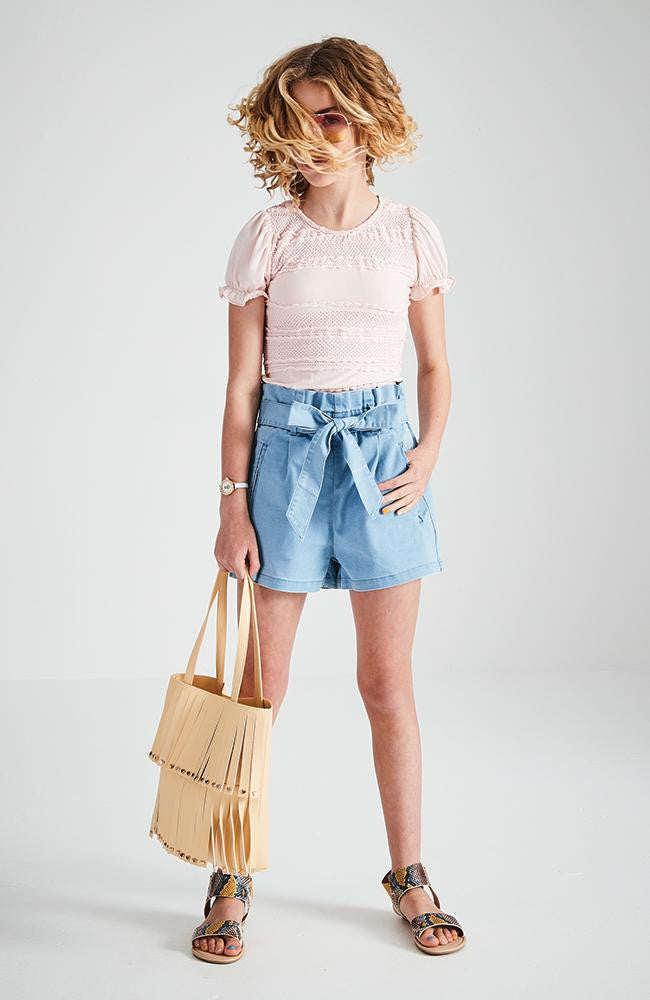 lisa light blue high-rise paper bag denim short