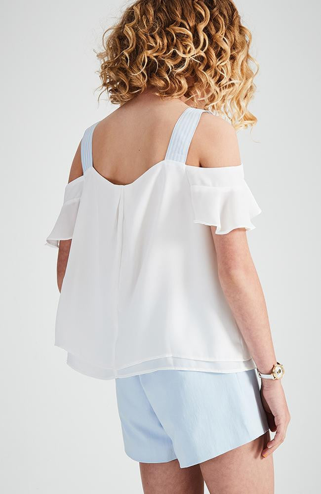 kara white and pale blue cold shoulder party top