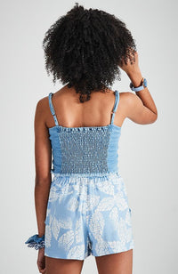 iris washed denim strappy top with shirred back