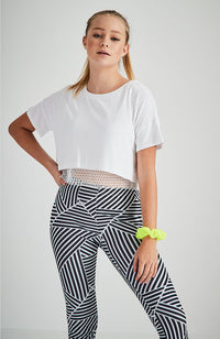 germaine white double layer sports mesh active crop top