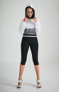 ninette white and silver reflective hooded active sweat top