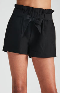 lucy black paper bag high waisted tie front short