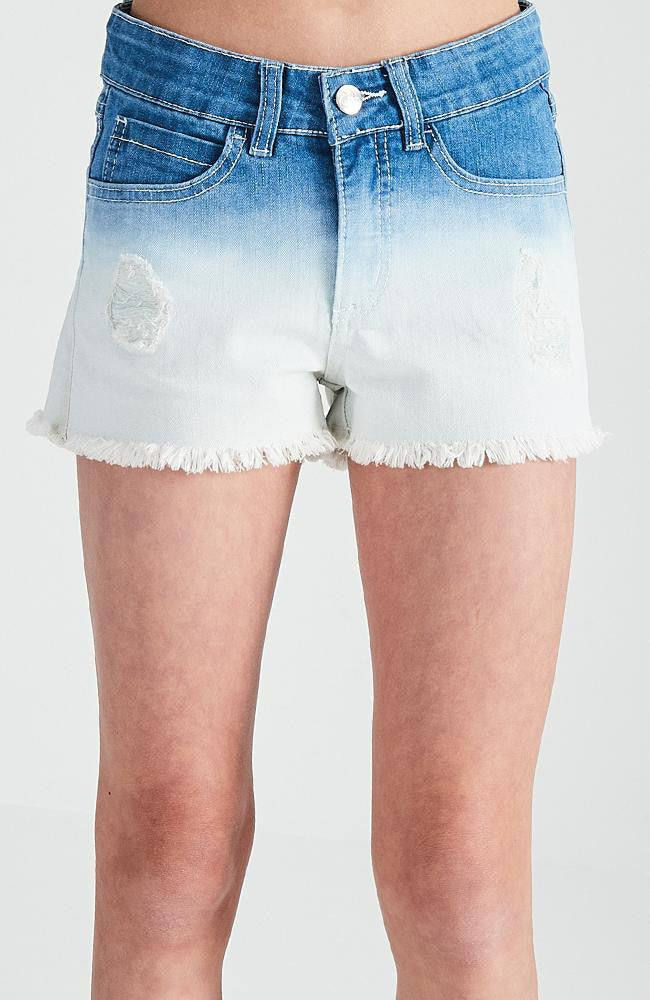 lilian ombre distressed raw hem cutoff denim short