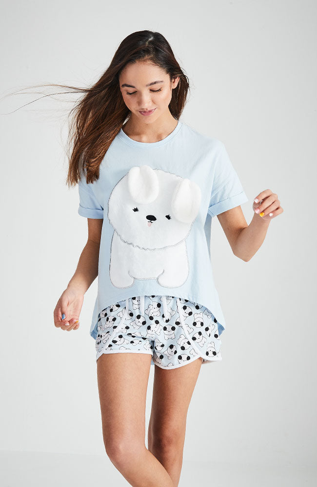 puppy blue and white printed sleepwear pajama short