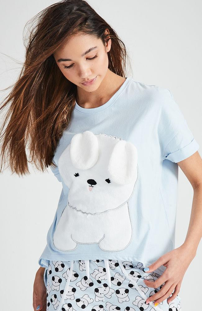 puppy blue white sleepwear pajama lounge top