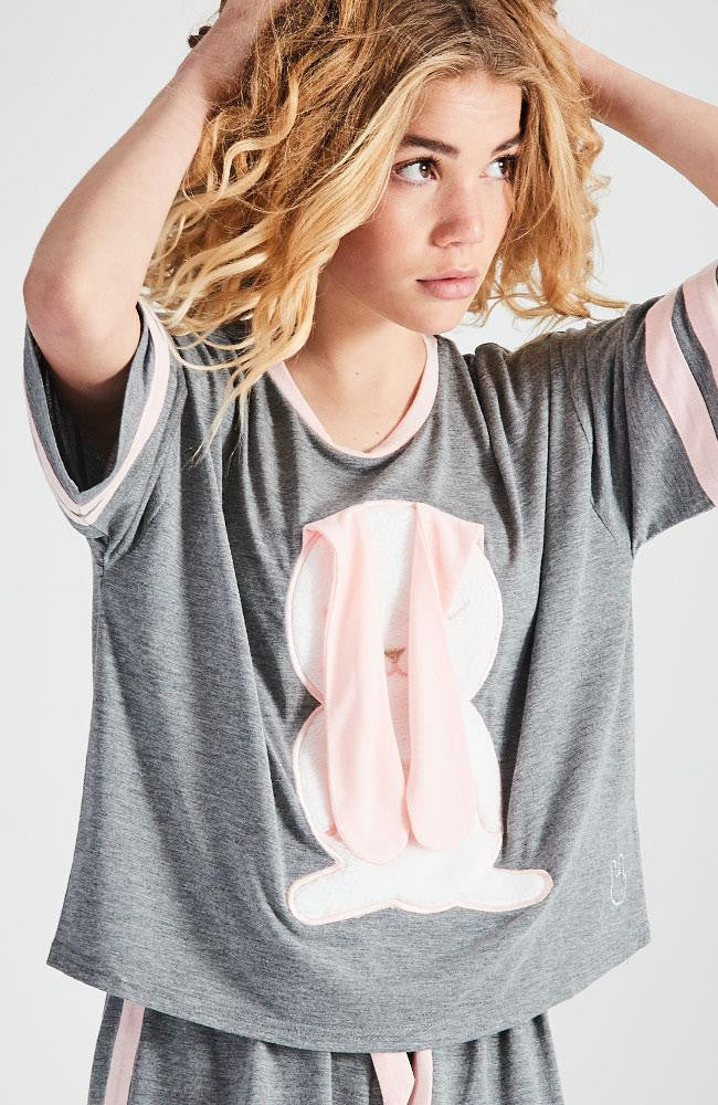 bunny grey and pink sleepwear pajama top