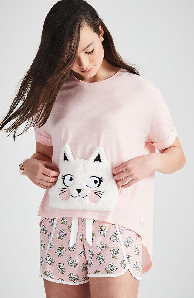 furry cat pink and white printed sleepwear pajama short
